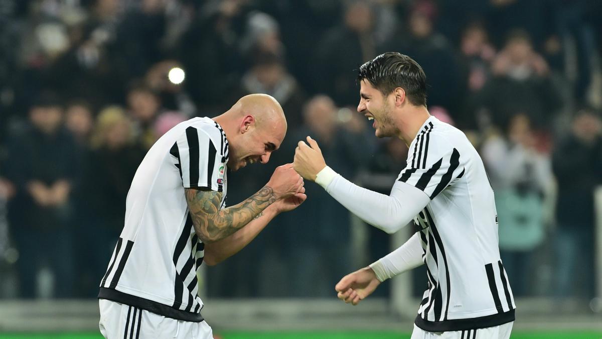 Morata y Zaza, en su etapa en la Juventus. (AFP)