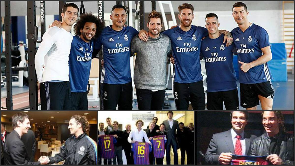 David Bisbal posa con los jugadores del Real Madrid, aunque es barcelonista.