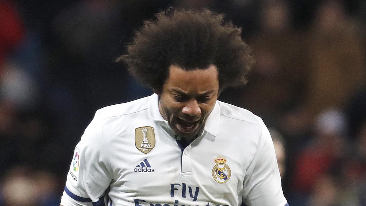 Marcelo, celebrando con rabia su gol ante el Celta.