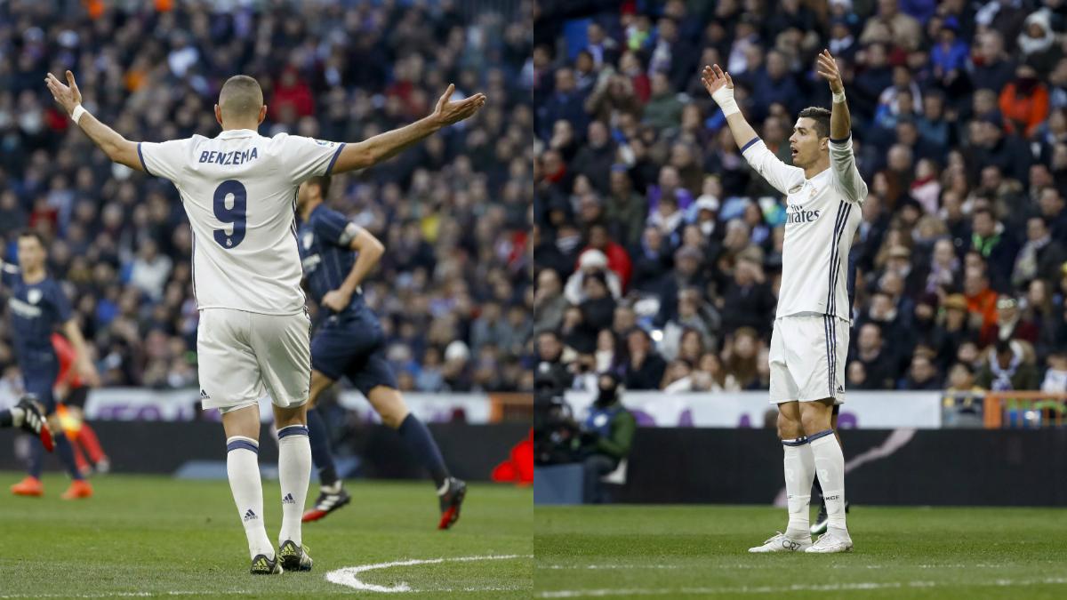 Benzema y Cristiano no vivieron su mejor tarde. (EFE)