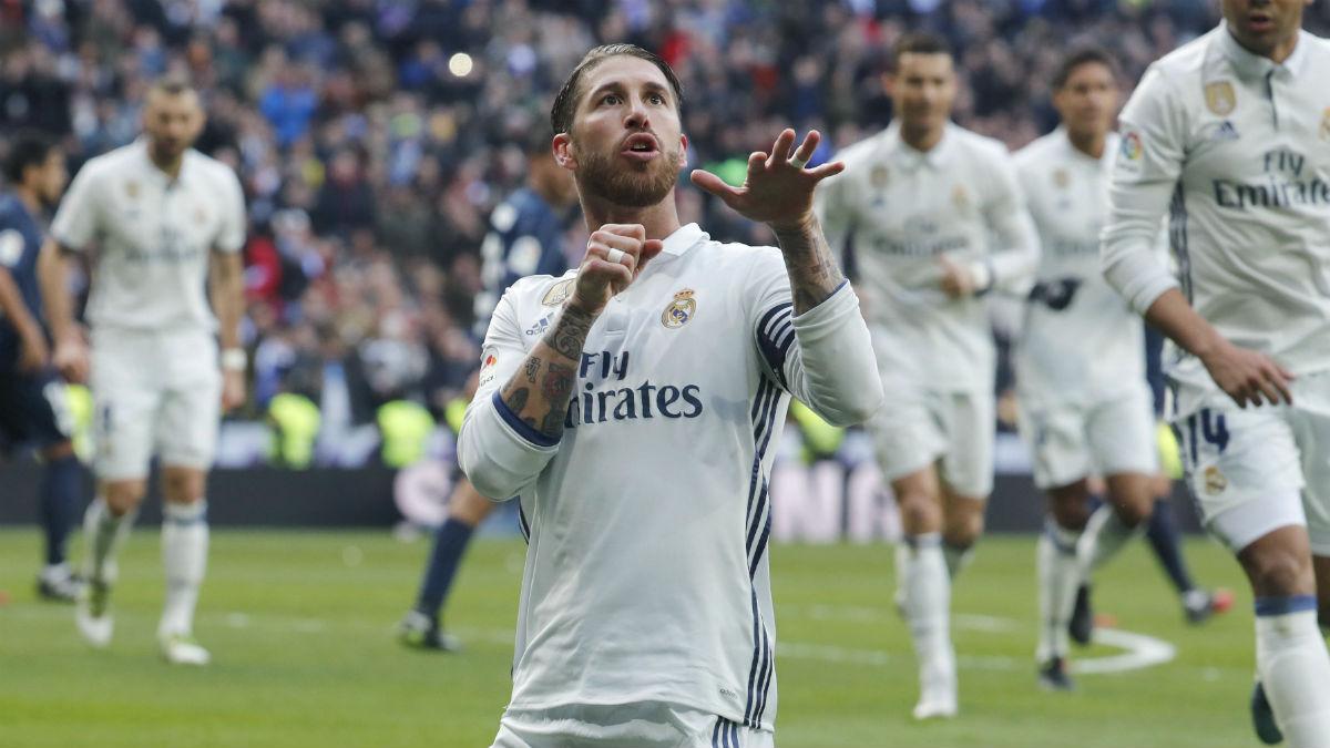 Ramos celebra su primer gol al Málaga. (EFE)