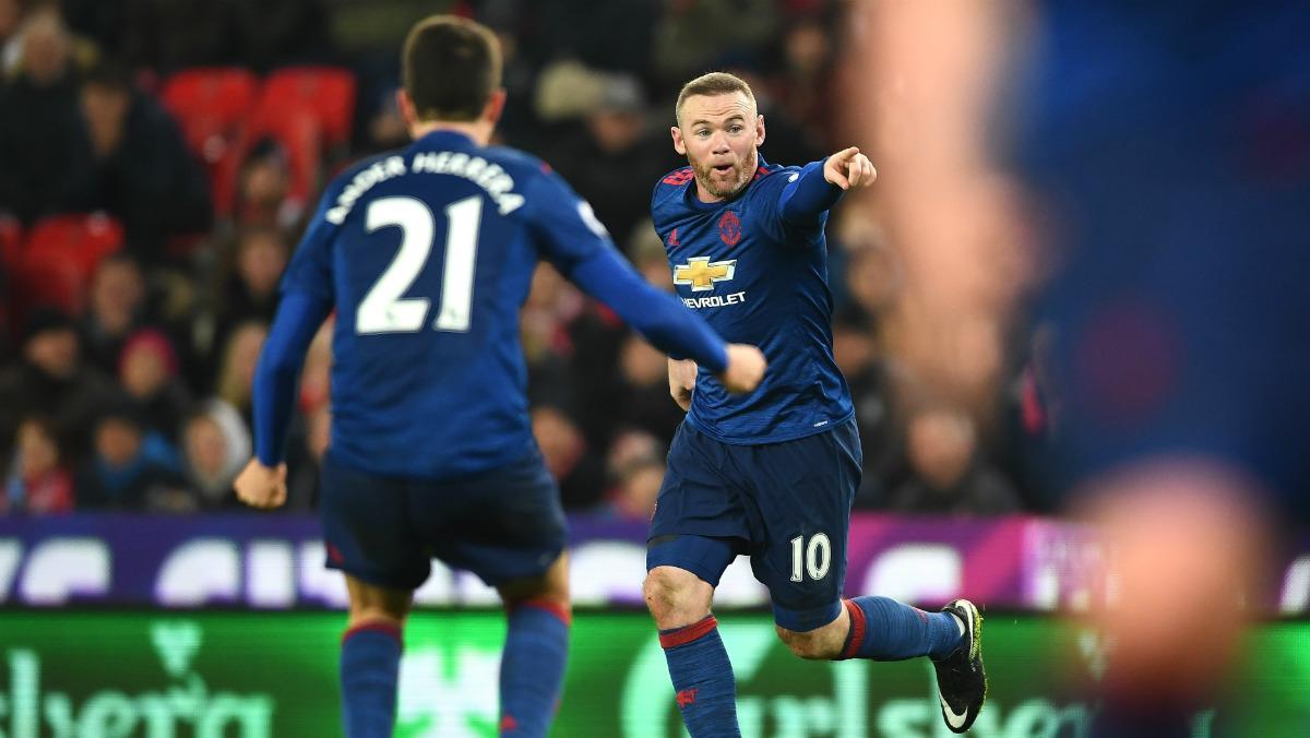 Wayne Rooney celebra su gol 250 con el Manchester United. (getty)