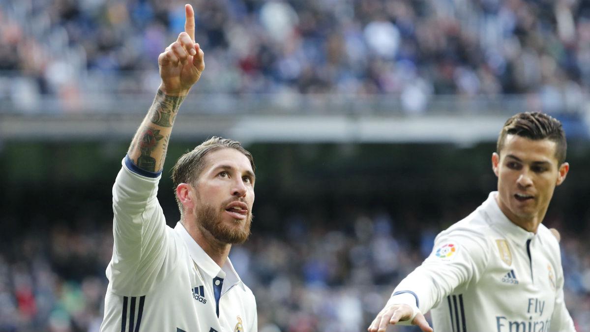 Ramos celebra el 1-0 ante el Málaga. (EFE)