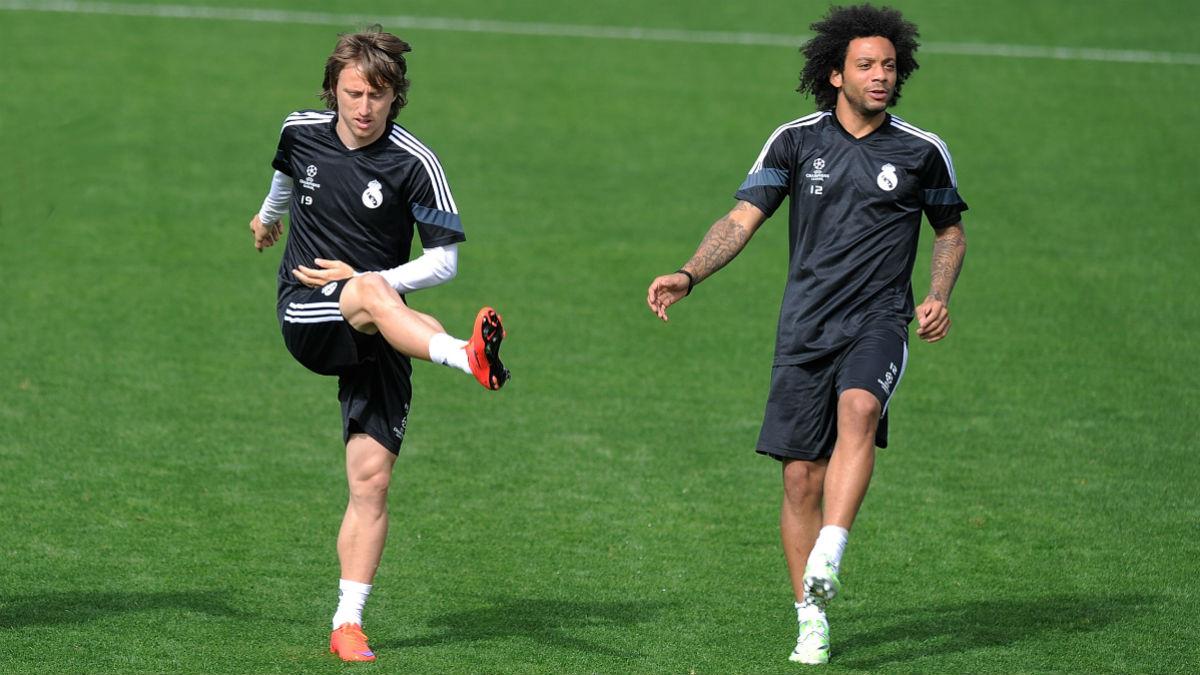 Modric y Marcelo, en un entrenamiento. (Getty)