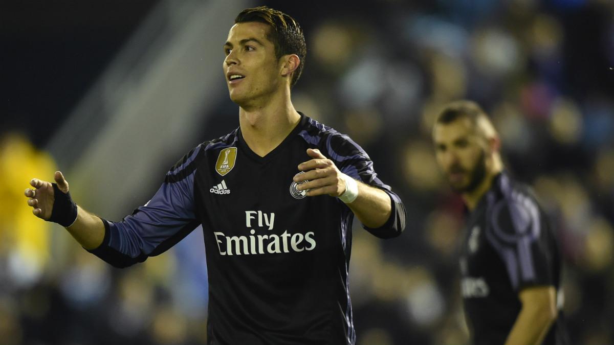 Cristiano Ronaldo se lamenta en Balaídos. (AFP)