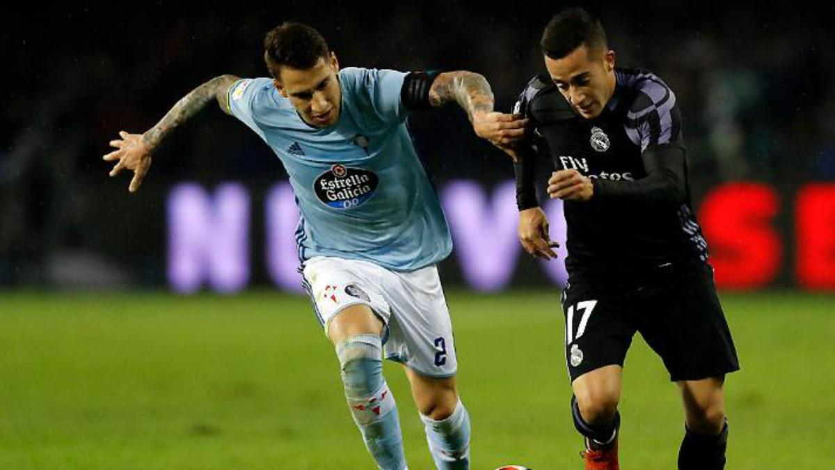 Lucas Vázquez, en una acción en el partido ante el Celta. (realmadrid.com)
