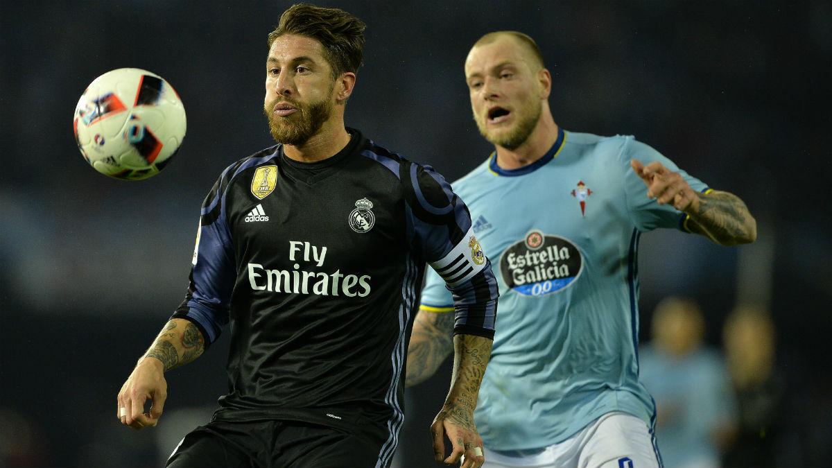 Sergio Ramos durante el Celta-Real Madrid. (Getty)