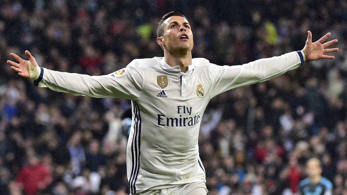 Cristiano Ronaldo, celebrando su gol ante la Real Sociedad.