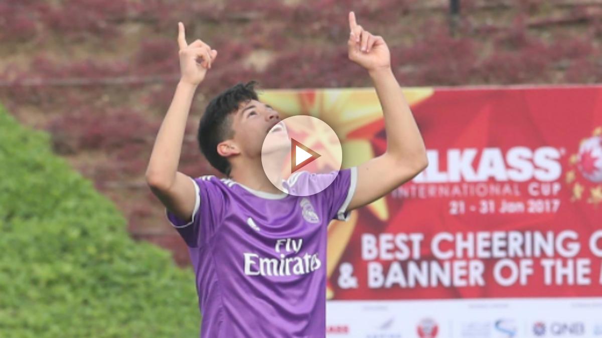 Benjamín Garay celebra un gol con el Juvenil C. (Al Kass International Cup)