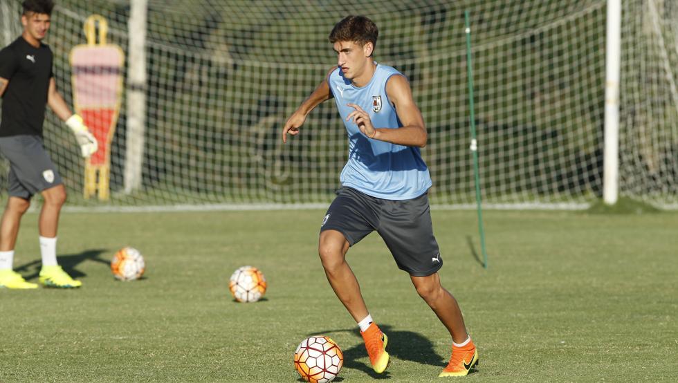 Santiago Bueno, en una prueba de esfuerzo con la selección de Uruguay.