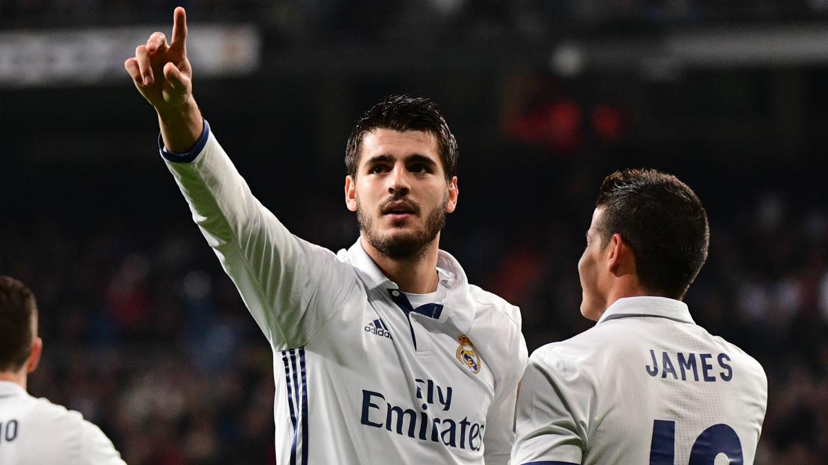 Morata celebra un gol con el Real Madrid.