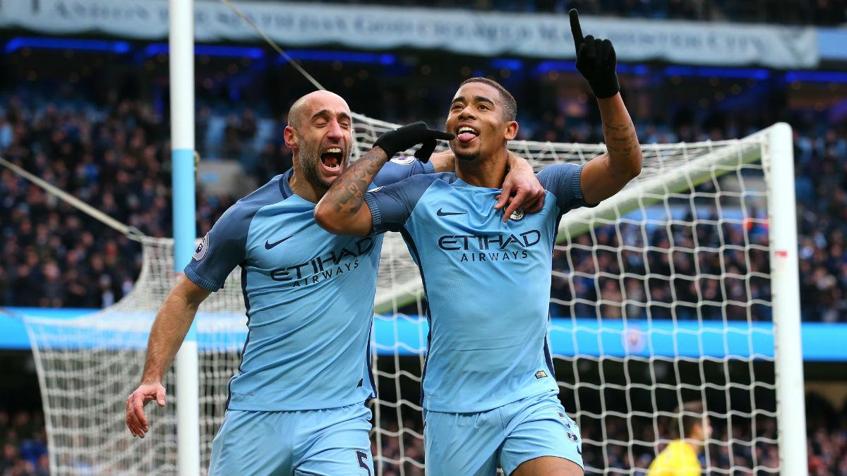 Gabriel Jesús celebra uno de sus goles con el Manchester City. (Getty)