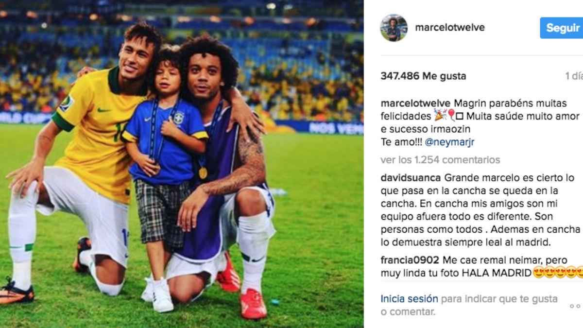 Marcelo felicita a Neymar en Instagram.