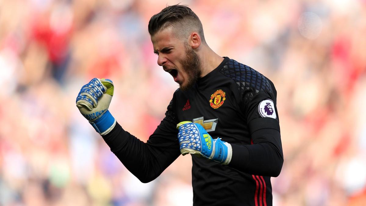 David de Gea celebra un gol con el Manchester United