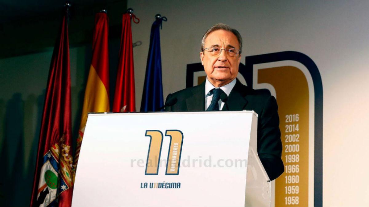 Florentino Pérez durante la presentación del libro de la Undécima. (Realmadrid.com)