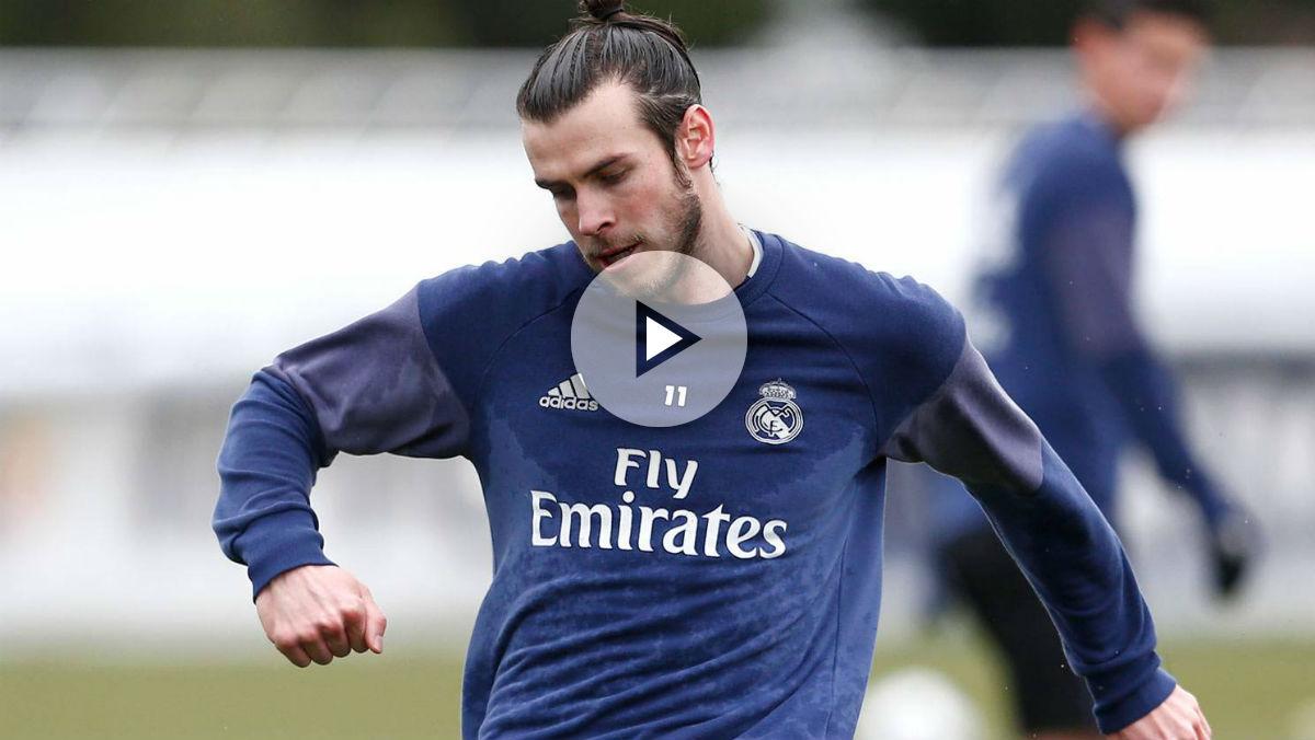 Bale se entrena con el grupo. (Realmadrid.com)