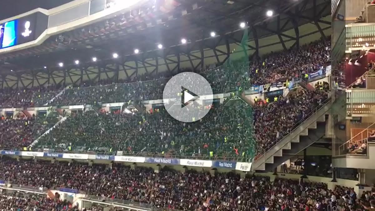 Así animaron los tifossi al Nápoles en el Bernabéu.
