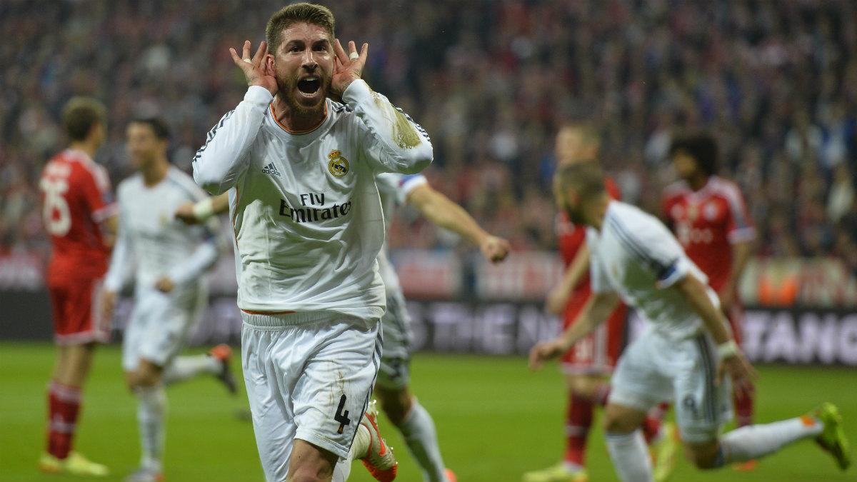 Sergio Ramos celebra un gol ante el Bayern. (AFP)