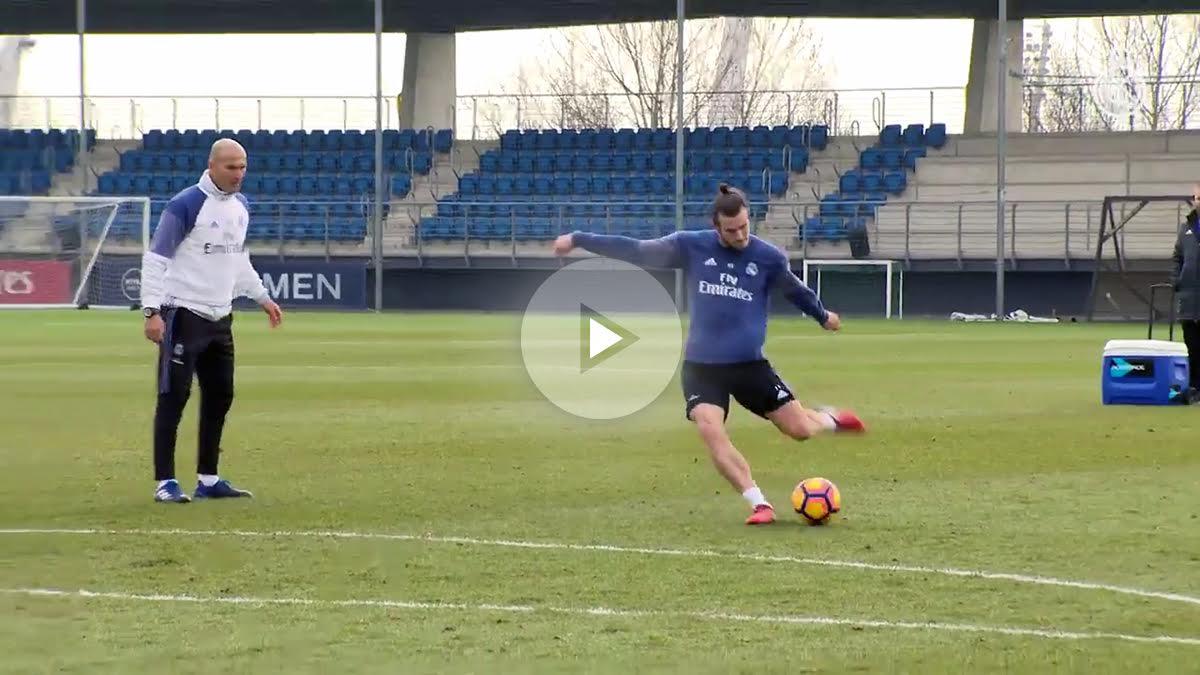 Gareth Bale durante el entrenamiento con el Real Madrid. (realmadridtv)