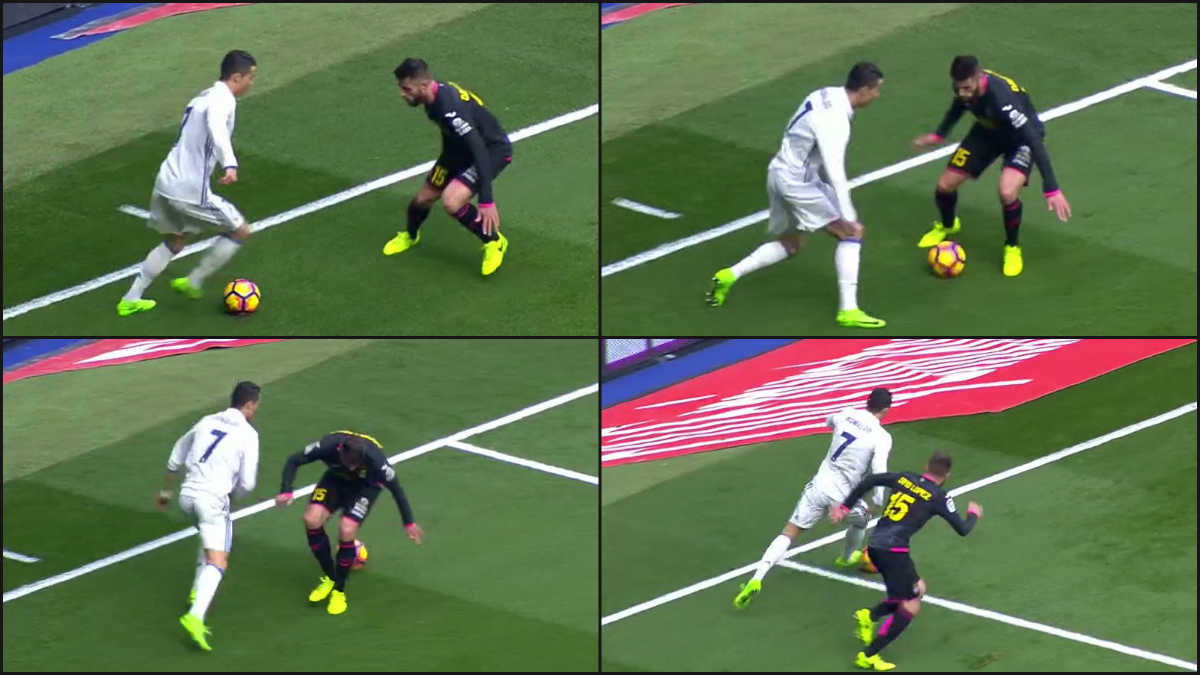 Cristiano realizó la elástica perfecta ante David López.