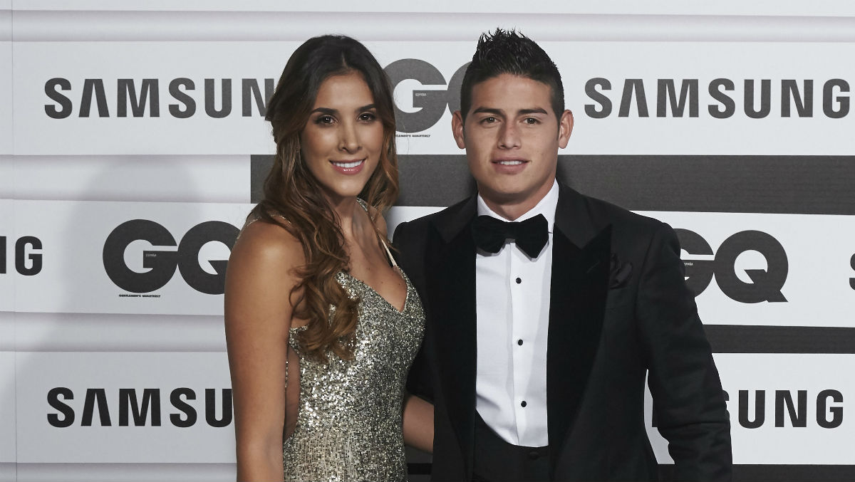 Daniela Ospina y James Rodríguez, posando (getty)
