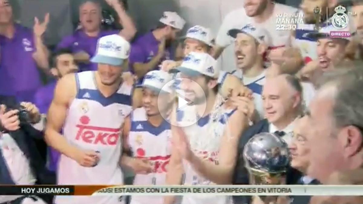 Así se celebró el título en el vestuario del Real Madrid.
