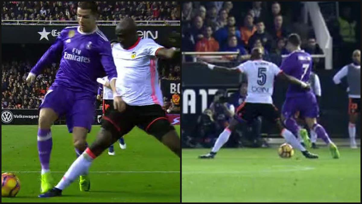 Mangala cometió penalti sobre Cristiano en Mestalla.