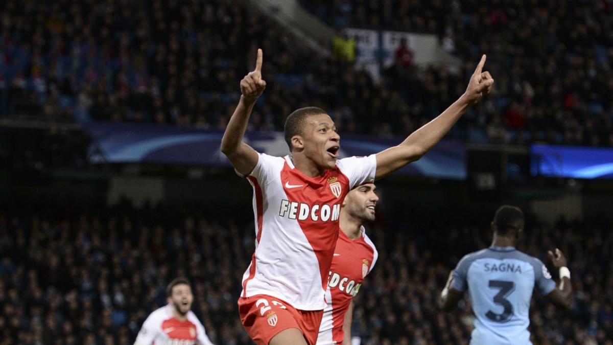 Mbappé celebra su gol frente al Manchester City. (AFP)