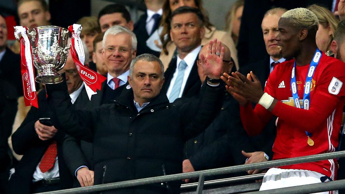 Mourinho celebra la Capital One Cup. (Getty)