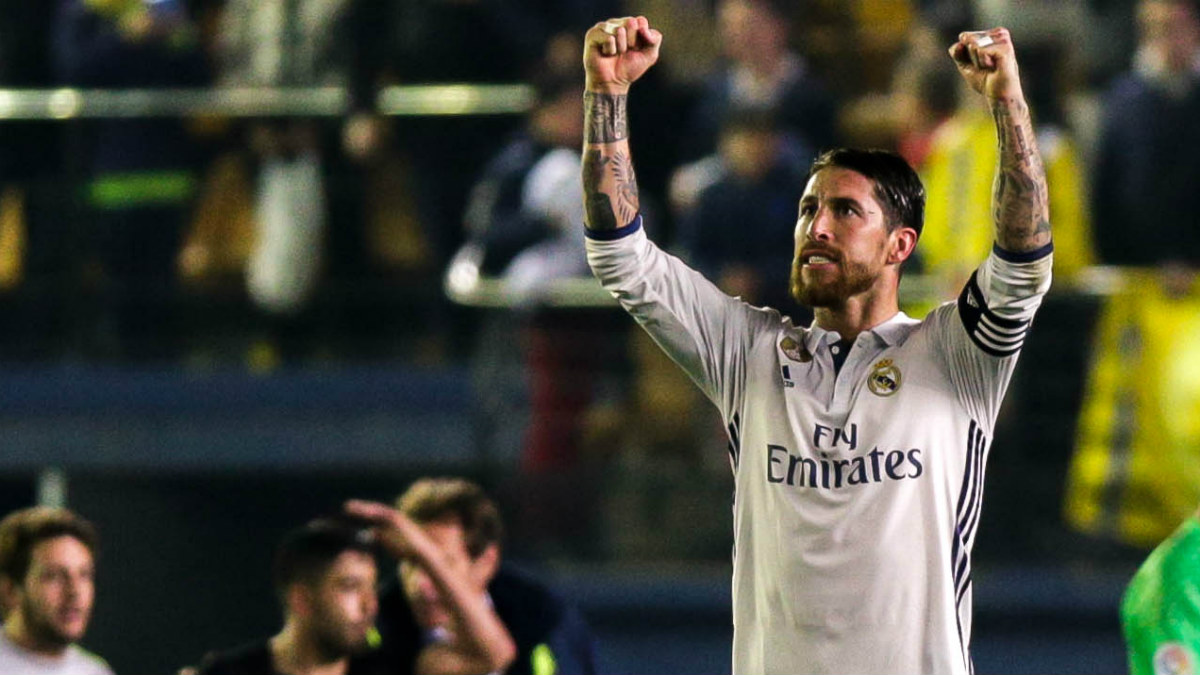 Sergio Ramos celebra la victoria en Villarreal. (AFP)