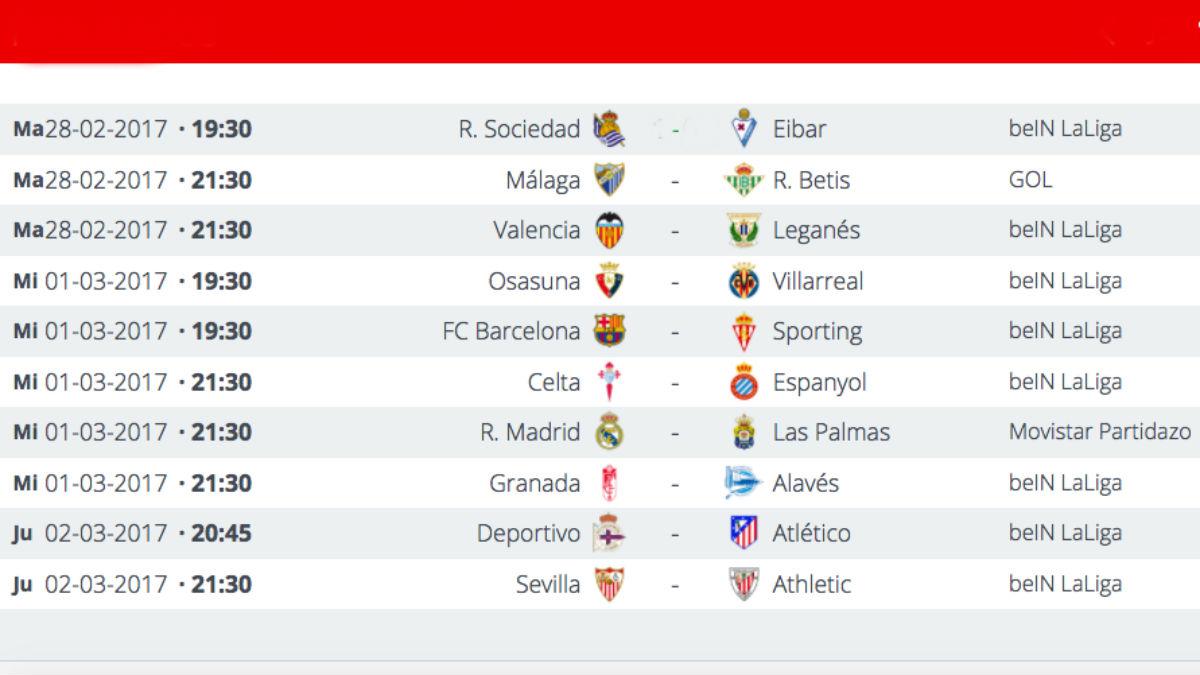 Partidos de la Jornada 25 de la Liga Santander.