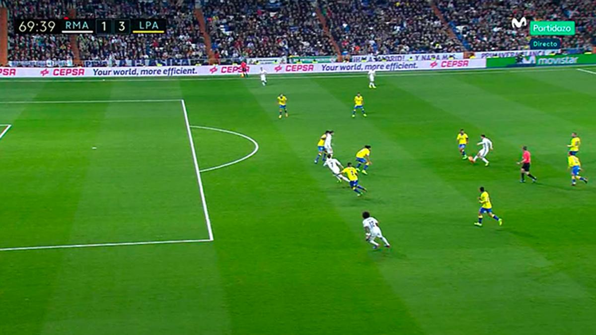 Repetición del inexistente fuera de juego señalado a Cristiano Ronaldo por el que Borbalán anuló un gol legal a Morata.