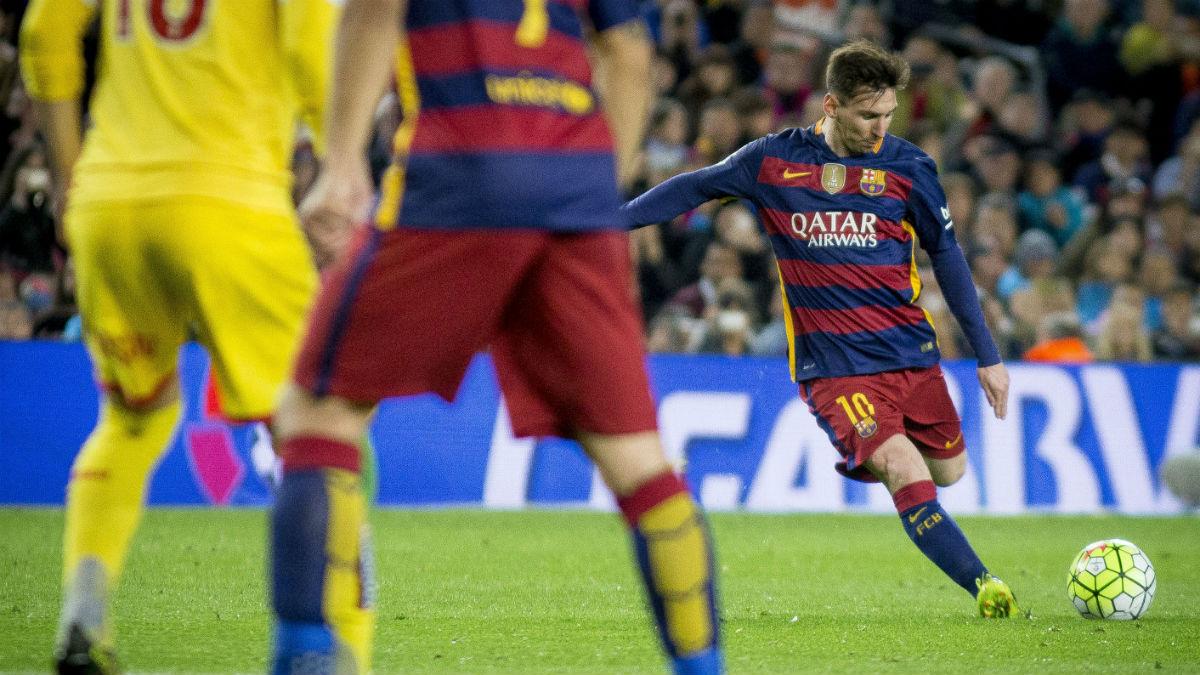 Messi, en un Barcelona Vs Sporting. (Getty)