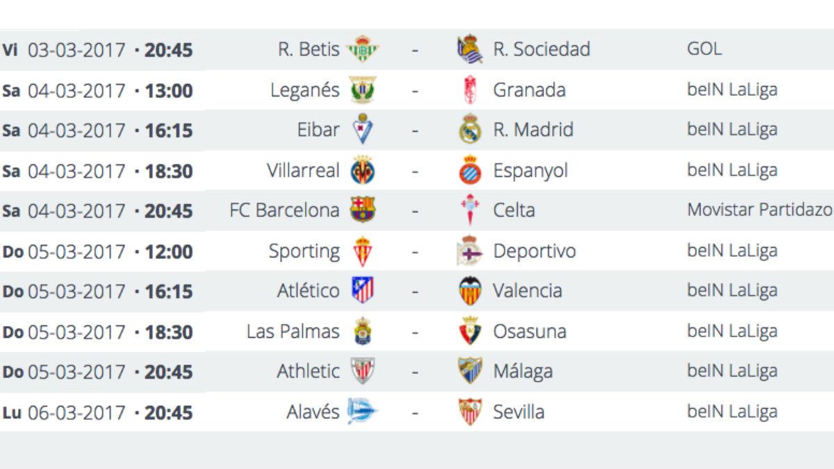 Partidos de la jornada 26 de la Liga Santander.