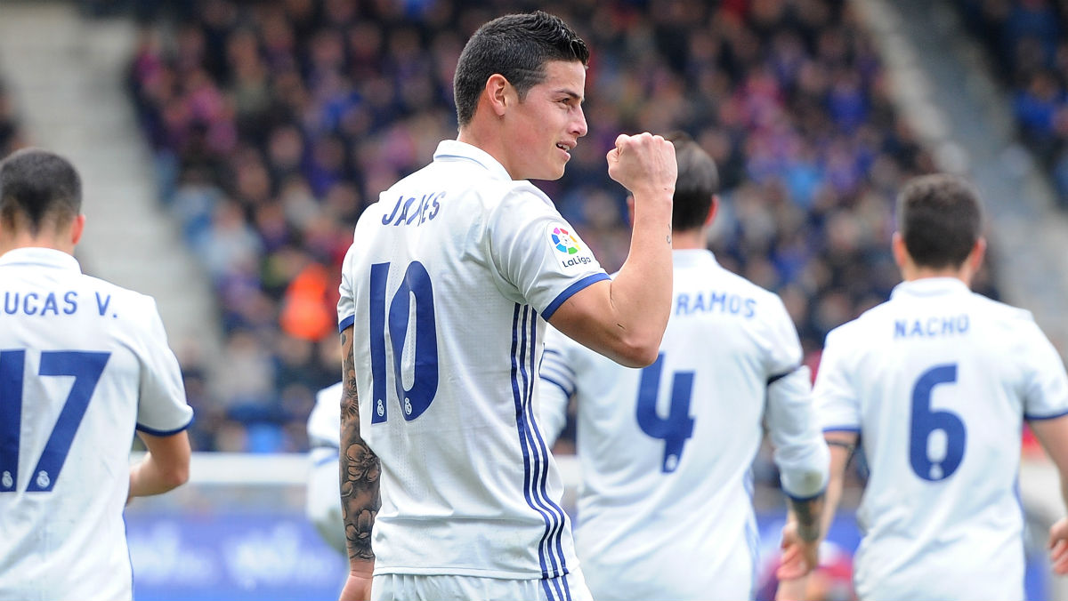 James celebra su gol al Eibar. (Getty)