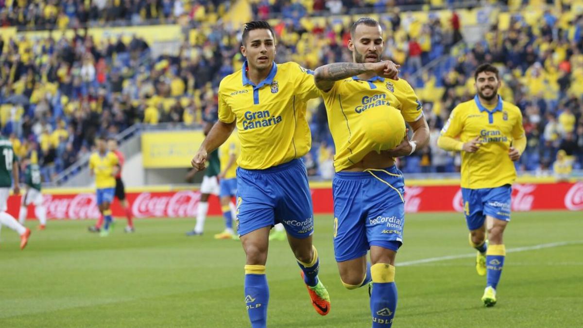 Jesé celebra su primer gol con Las Palmas. (Twitter)