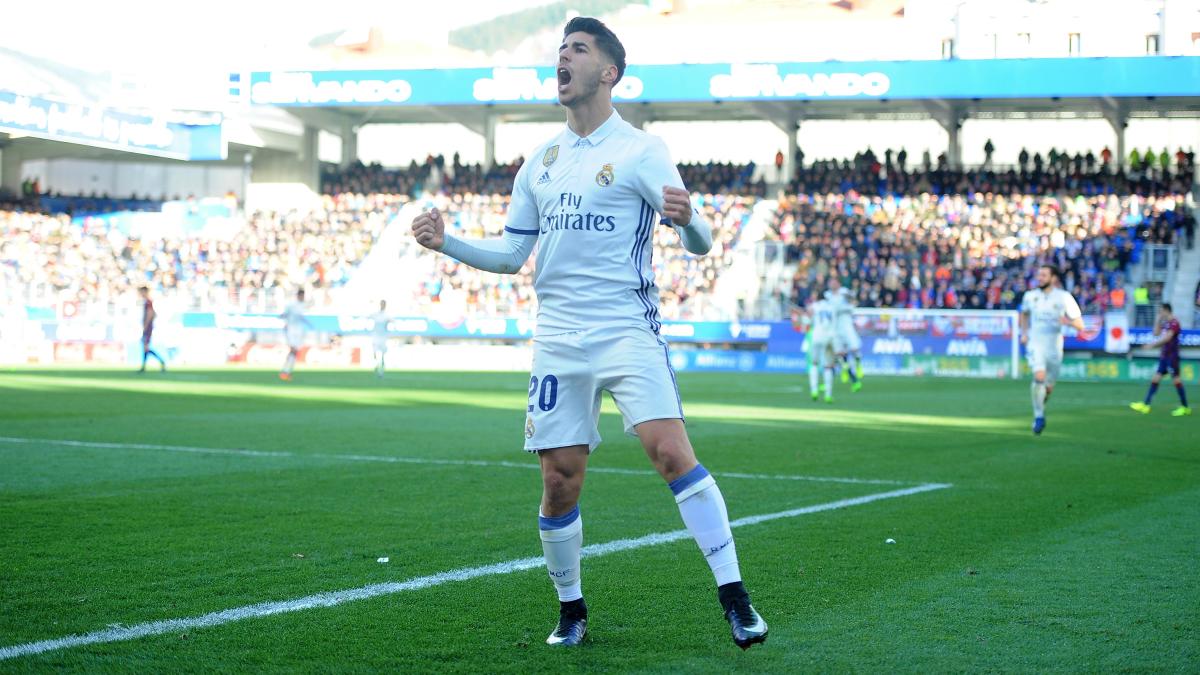 Marco Asensio celebra su gol al Eibar. (Getty)