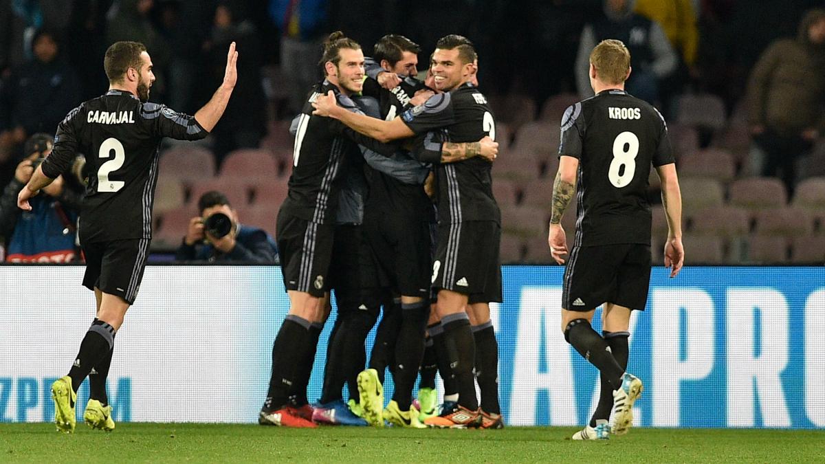 Los jugadores del Real Madrid celebran el gol de Ramos. (Getty)
