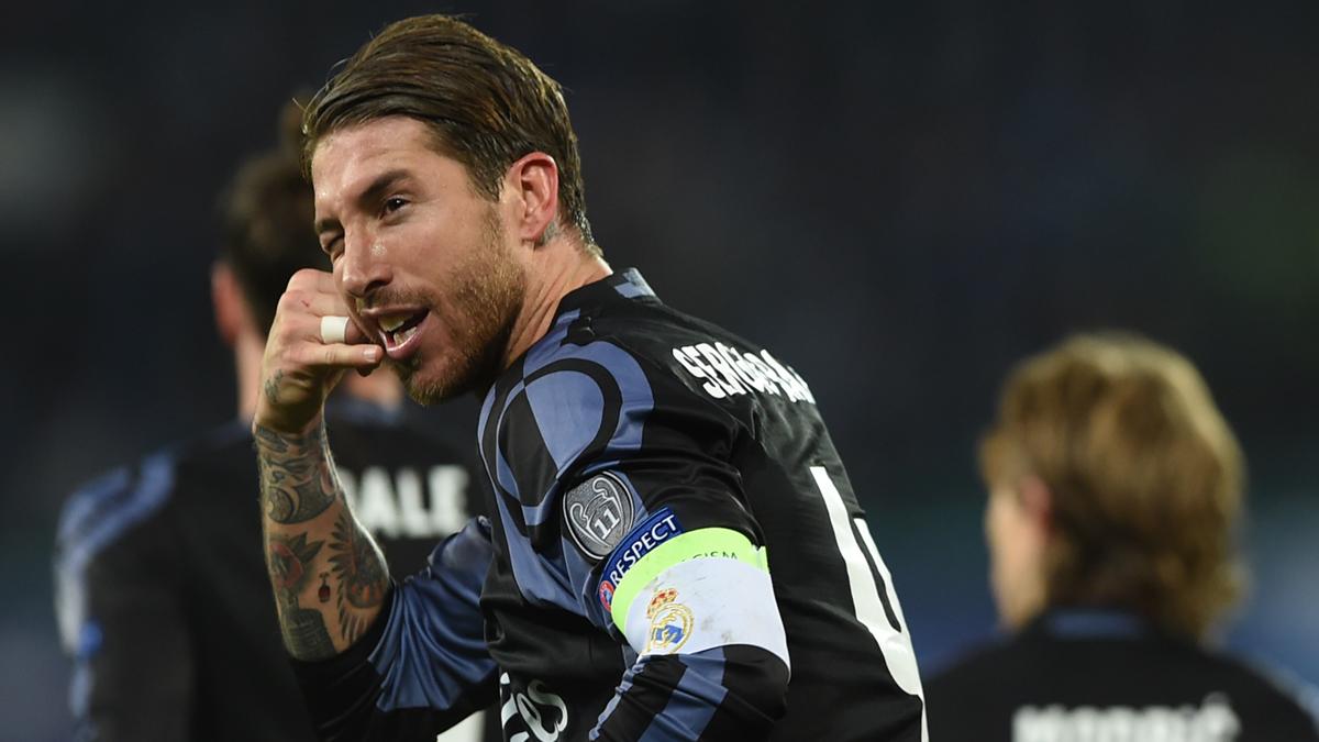 Sergio Ramos, celebrando su segundo gol ante el Nápoles.