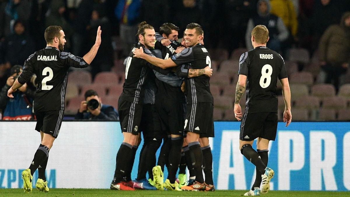 Los jugadores del Real Madrid celebran un gol en Nápoles. (Getty)