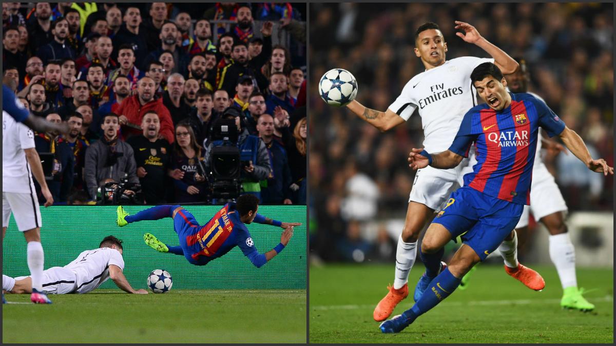 Neymar y Luis Suárez en sus respectivos penaltis ante el PSG. (Fotos: AFP y Getty Images)