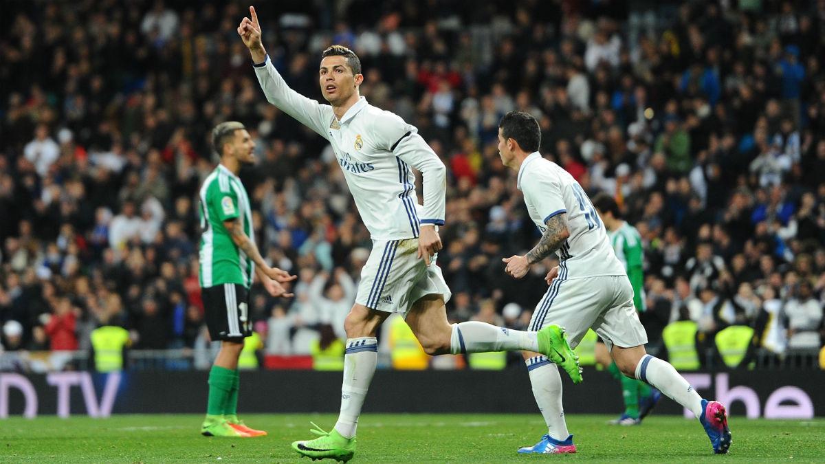 Cristiano celebra el 1-1 ante el Betis. (Getty)