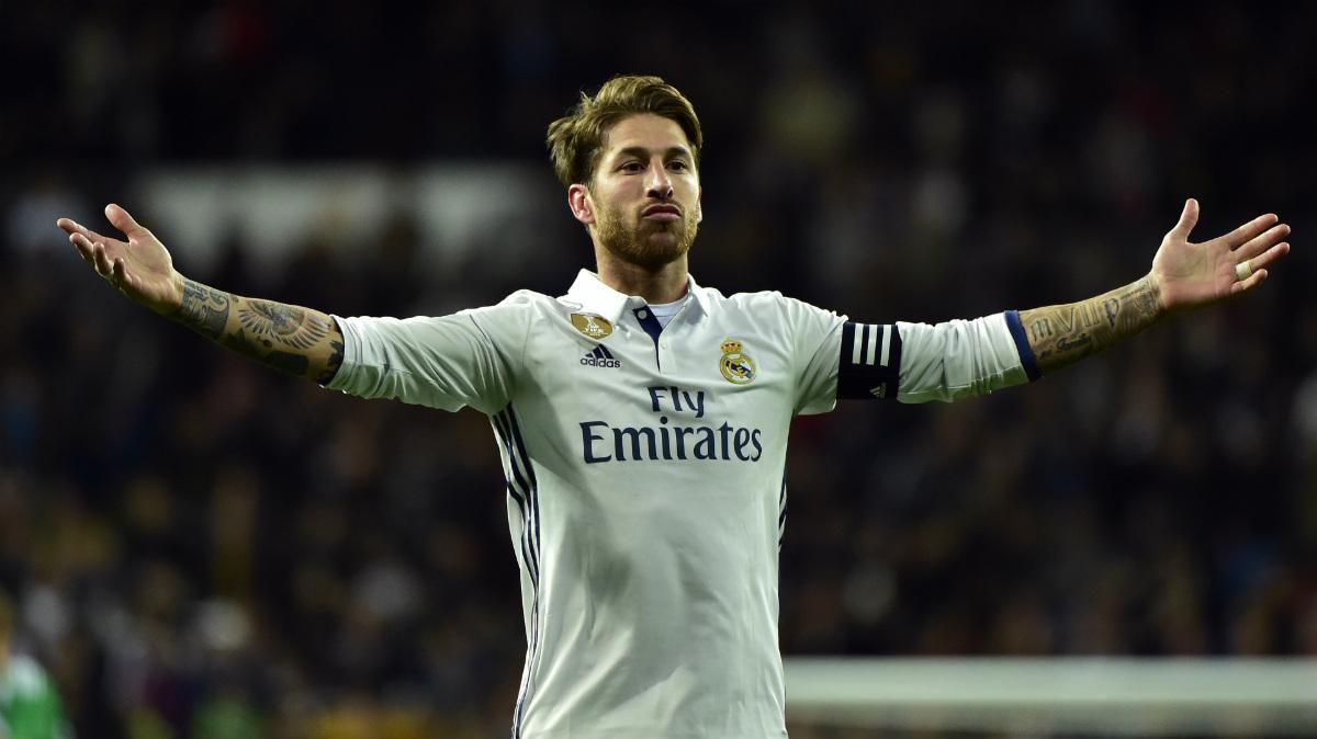 Sergio Ramos anotó el gol de la victoria ante el Betis. (AFP)