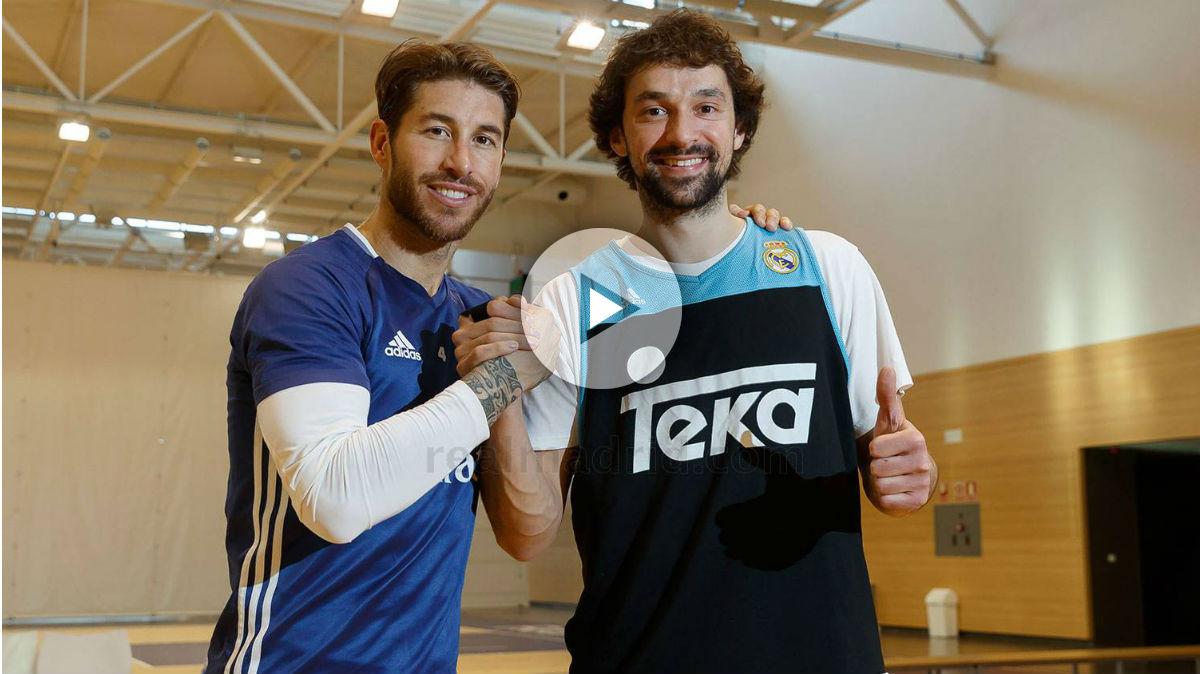 Sergio Ramos y Sergio Llull durante el entrenamiento del Real Madrid. (Realmadrid.com)