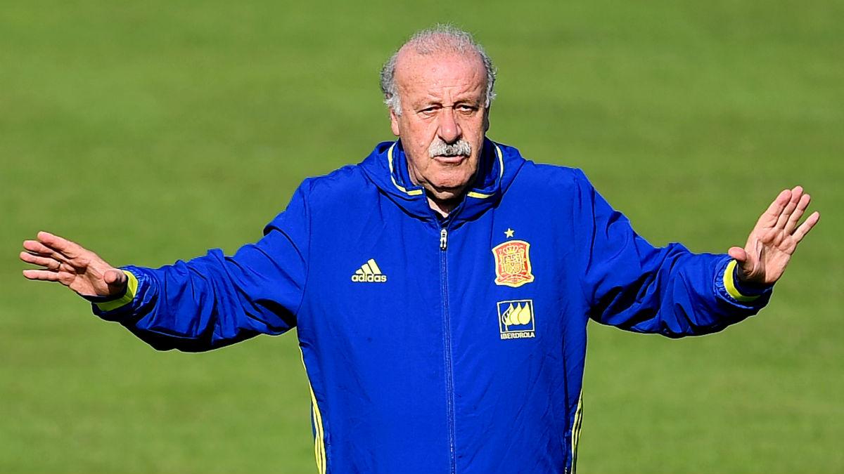 Vicente del Bosuqe, en un entrenamiento con la Selección. (Getty)