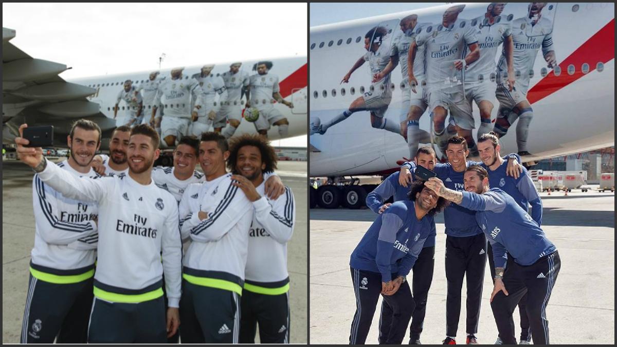 A la izquierda, presentación del avión del Real Madrid la temporada pasada. A la derecha, misma presentación sin James este curso.