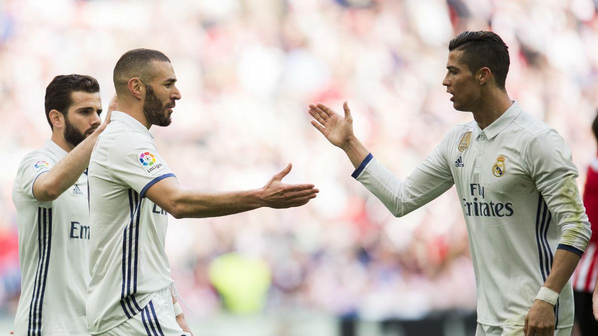 Cristiano asistió a Benzema en el primer gol del Madrid. (Getty)