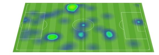 Mapa de calor de Benzema en el partido.