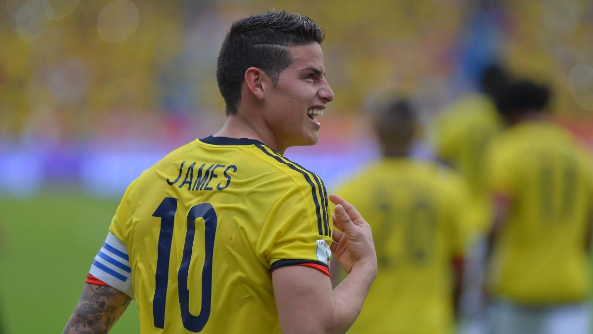 James Rodríguez celebra su tanto ante Bolivia