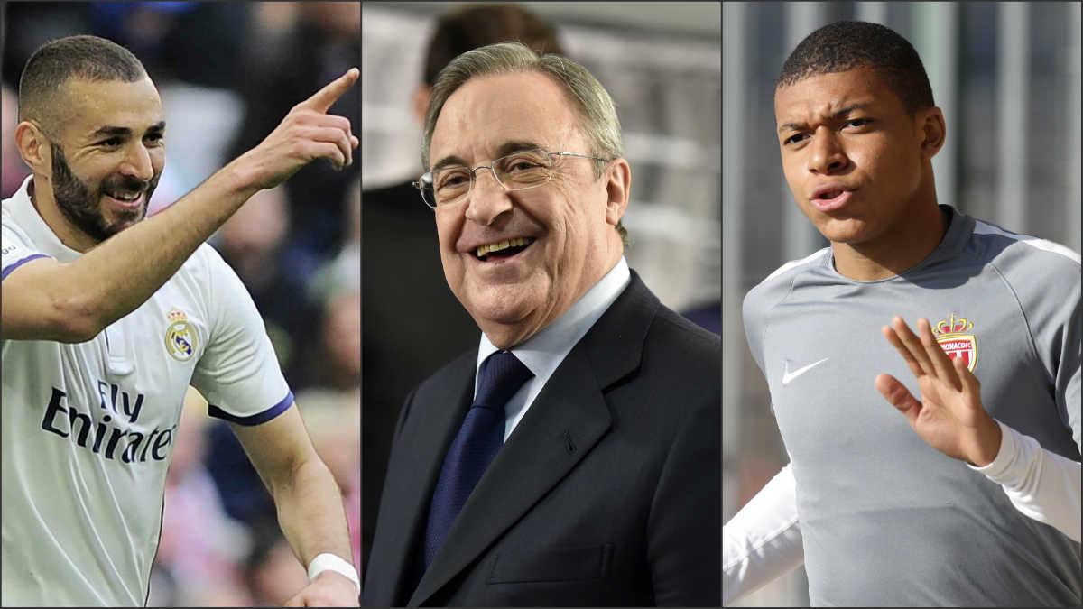 Benzema, Florentino Pérez y Mbappé.